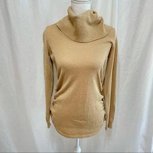 Michael Kors Gold Cowl Neck Ruched Sides Sweater